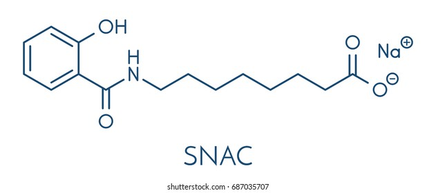 Sodium salcaprozate (SNAC, sodium N-[8-(2-hydroxybenzoyl)amino] caprylate) oral absorption promoter. Used to increase the bioavailability of macromolecules, including heparin. Skeletal formula.