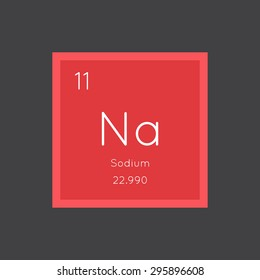 Sodium simple style tile icon. Chemical element of periodic table. Vector illustration EPS8