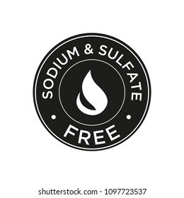 Sodium and sulfate Free icon for labels of shampoo, mask, conditioner and other hair products. Black and white.