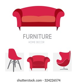 Sofa Business sign set vector template for furniture store, home decor boutique, furniture design. Couch silhouette icon. Corporate web site element. Layered editable design