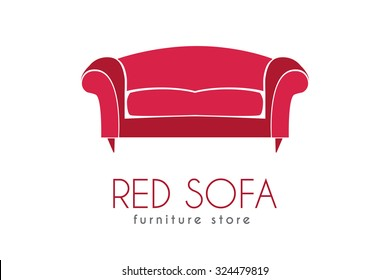 Sofa Business sign vector template for furniture store, home decor boutique, furniture design. Couch silhouette icon. Corporate identity & web site element. Layered editable design