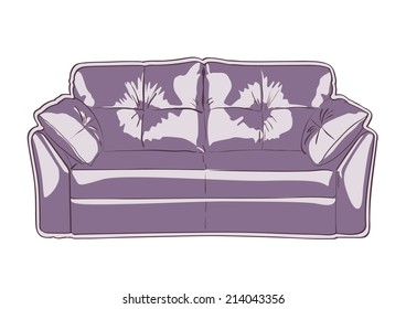 Sofa cartoon style vector