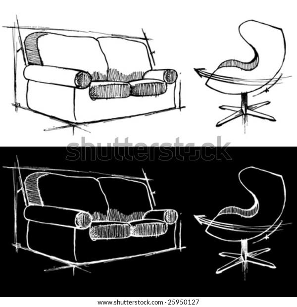 Sofa Chair Drawing Vector Stock Vector Royalty Free 25950127