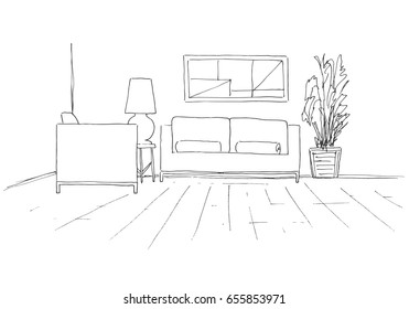 Sofa, chair, table with lamp and a large potted plant. Hand drawn vector illustration of a sketch style.