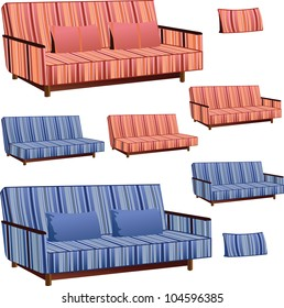 Sofa Clipart Green Cream Colors Stock Vector Royalty Free