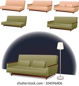 Modern Living Room Furniture Vector Multiple Stock Vector Royalty