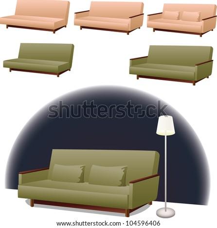 Sofa Clipart Interior Design Green Pink Stock Vector Royalty Free
