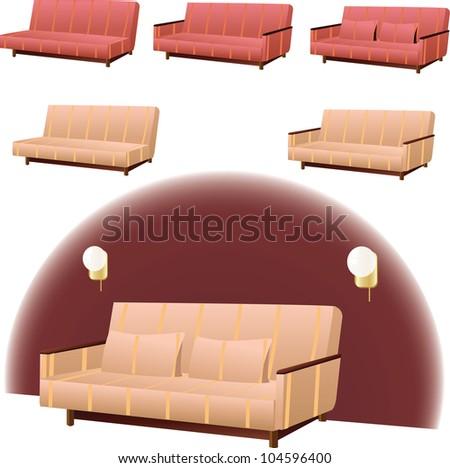 Sofa Clipart Interior Design Pink Cream Stock Vector Royalty Free