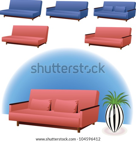 Sofa Clipart Interior Design Pink Blue Stock Vector Royalty Free