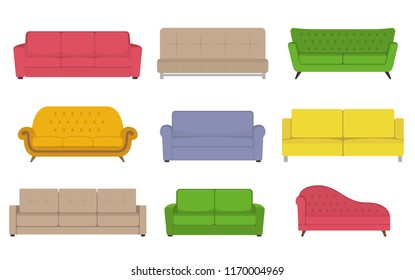 Sofa colored vector set. Collection of sofa illustration.