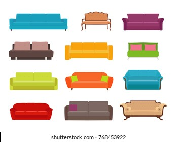 Sofa colored vector set. Collection of sofa illustration. Stock vector