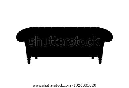 Sofa Couch Black Silhouette Cartoon Illustration Stock Vector