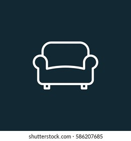 Sofa, couch line icon, outline vector sign, linear white pictogram. Furniture symbol, logo illustration
