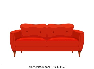 Sofa and couch red colorful cartoon illustration vector. Comfortable lounge for interior design isolated on white background. Modern model of settee icon.