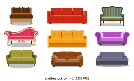 Sofa and couches colorful cartoon illustration vector set. Collection of comfortable lounge for interior design isolated on white background. Different models of settee icons. EPS