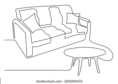 Sofa with cushions beside a coffee table. Interior of the living room or cafe. One continuous drawing line drawn by hand on a white background.