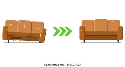Sofa design before and after. Restoration of old furniture.