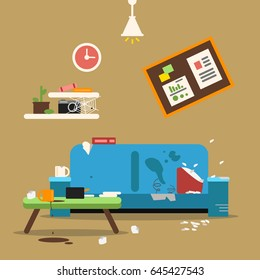 Sofa in dirty organized apartment. Different trashes in room. Flat style vector illustration. Sofa interior at home apartment, dirty room chaos