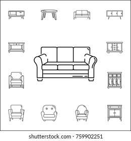 sofa icon. Set of household accessories icons. Signs, outline furniture collection, simple thin line icons for websites, web design, mobile app, info graphics on white background