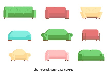 Sofa icon set, vector flat illustration isolated on white background. Different types of comfortable couches for every living room.