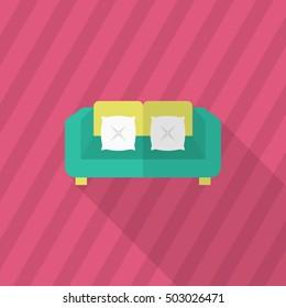 Sofa icon , Vector flat long shadow design.