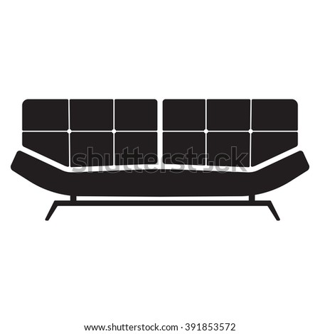 Sofa Icon Vector Illustration On White Stock Vector Royalty Free