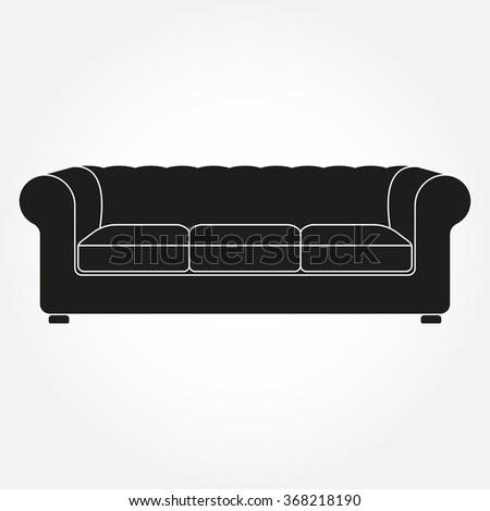 Sofa Icon Vintage Retro Sofa Furniture Stock Vector Royalty Free