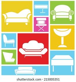 sofa icons, interior design concept background, colorful theme design