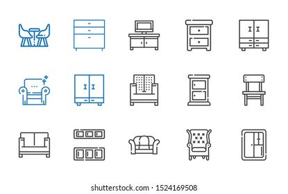 sofa icons set. Collection of sofa with closet, armchair, cupboard, chair, chest of drawers, nightstand, tv table, furniture. Editable and scalable sofa icons.