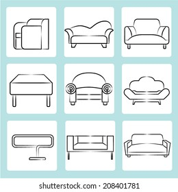 sofa icons, sketch sofa, chair icons set, interior design concept