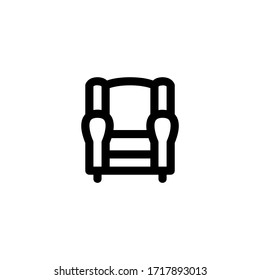 Sofa Interior Outline Icon Logo Vector Illustration