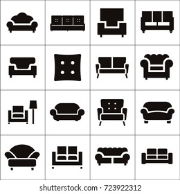 Sofa isolated flat vector icons set