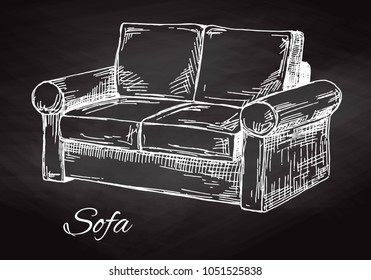 Sofa isolated on chalkboard. Vector illustration in a sketch style.