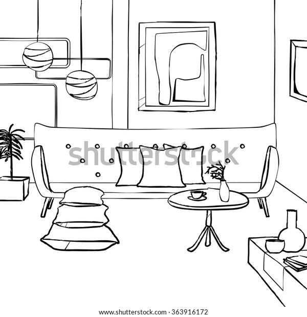 Sofa Living Room Simple Interior Sketch Stock Vector
