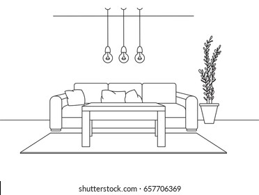 Sofa, table, three low-hanging lamps above the table. Linear sketch of the interior in a modern style.