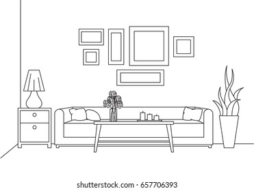 Sofa, table, vase with flowers. Bedside table, desk lamp. Linear sketch of the interior in a modern style.