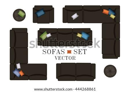 Sofa Top View Sofas Armchair Set Stok Vektor Telifsiz 444268861