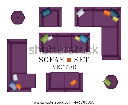 Sofa Top View Sofas Armchair Set Stock Vector Royalty Free