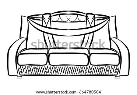 Sofa Upholstered Furniture Linear Pattern Outline Stock Vector