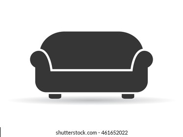 Sofa vector illustration isolated on white background. Soft sofa icon. Old style sofa icon. Divan sofa vector icon.