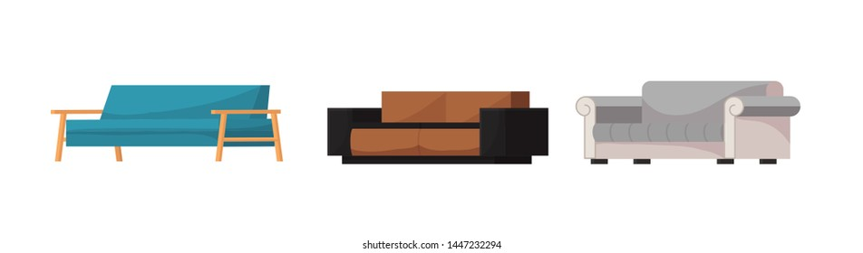 Sofa vector modern furniture couch seat furnished interior design of living-room at apartment home illustration furnishing isometric set of modern armchair sofa-bed settee isolated on white background