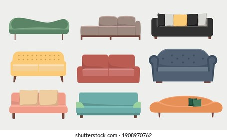 Sofa vector set. Collection of color sofa. Flat couch.