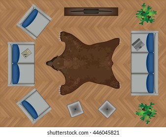 Sofas Armchair Set. Furniture, Pouf, Carpet, TV, Plants, Side Table for Your Interior Design. Flat Vector Illustration. Top View. Scene Creator.Grey color Lounge with Colorful Pillows.Brown Bear Pelt