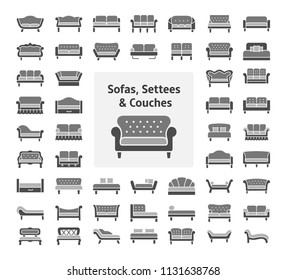 Sofas & Couches. Living room & patio furniture. Different kinds of classic and modern settees, loveseats. Benches & daybeds. Front view. Vector icon collection. Monochrome colors.