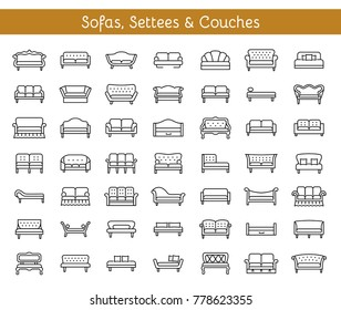 Sofas & Couches. Living room & patio furniture. Different kinds of classic and modern settees, loveseats. Benches & daybeds. Front view. Vector line icon collection.