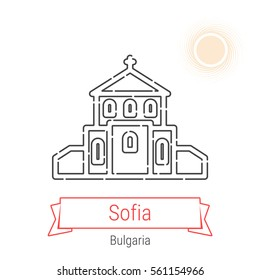 Sofia (Bulgaria) flat style thin line icon with an inscription on a ribbon banner with the sun in the background. Sofia logo, landmark, vector symbol. Church of St. George pictogram.
