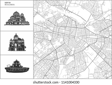 Sofia city map with hand-drawn architecture icons. All drawigns, map and background separated for easy color change. Easy repositioning in vector version.
