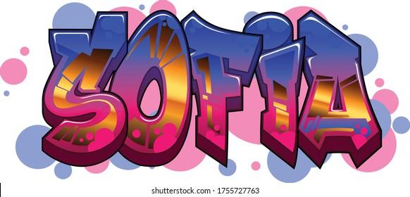 Sofia Name Text Graffiti Word Design