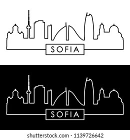 Sofia skyline. Linear style. Editable vector file.