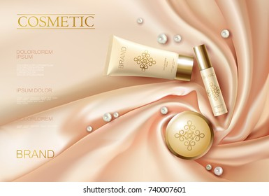 Soft 3d realistic cosmetic ad. Silk glowing fabric light rose beige golden package compact powder. Promotional banner template design vector illustration.